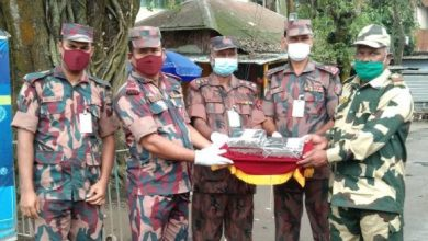 Photo of দূর্গাপুজা উপলক্ষে হিলি সীমান্তে মিষ্টি উপহার দিয়ে শুভেচ্ছা জানিয়েছে বিজিবি ও বিএসএফ